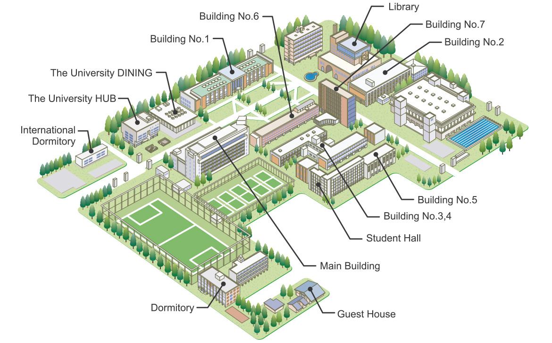 Campus Map Student Life Chiba University Of Commerce